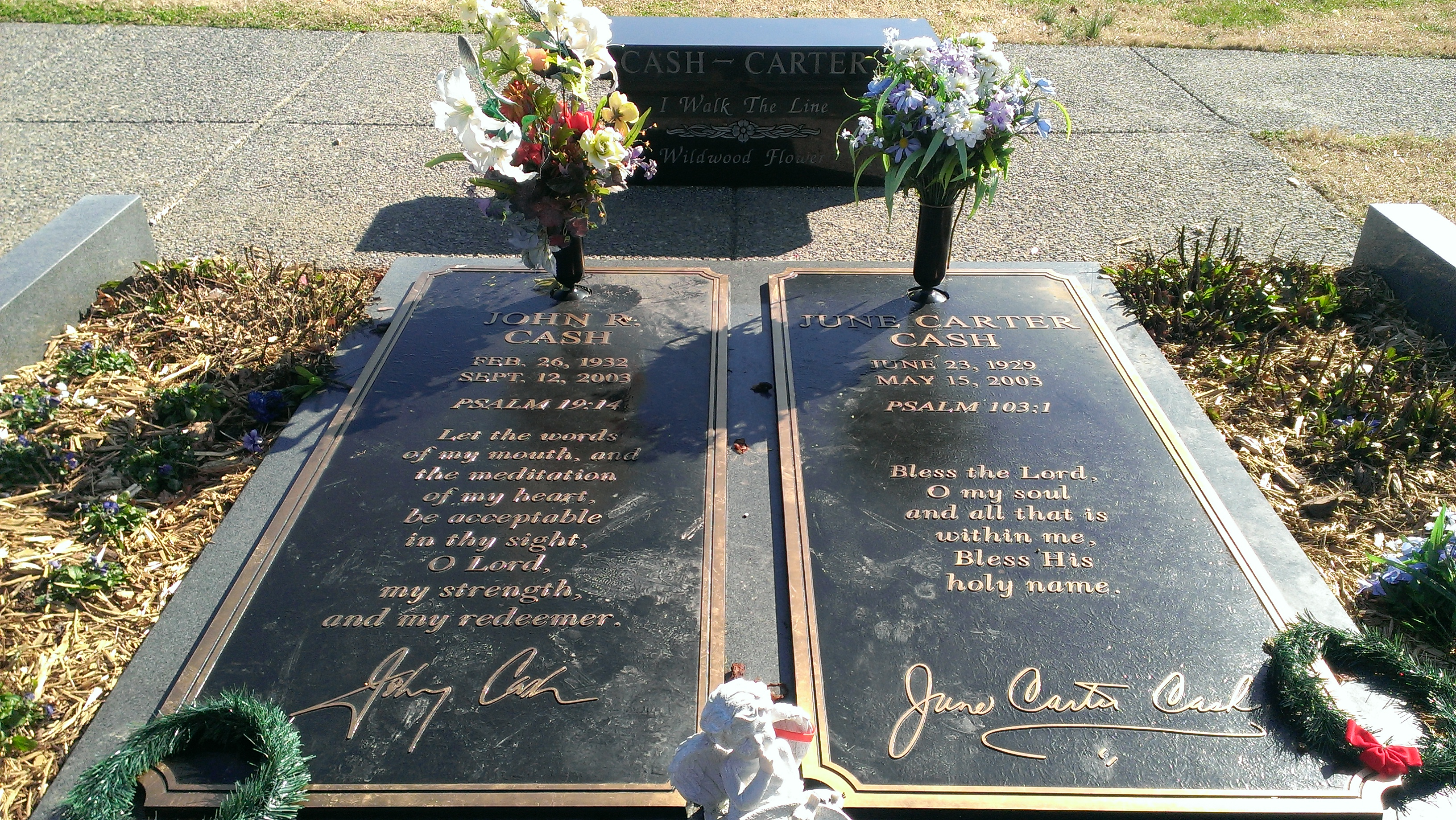 The graves of Johnny Cash and June Carter Cash in Hendersonville, Tennessee. Photo taken on January 23, 2013.