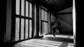At the temple - Tokyo, Japan - Black and white street photography