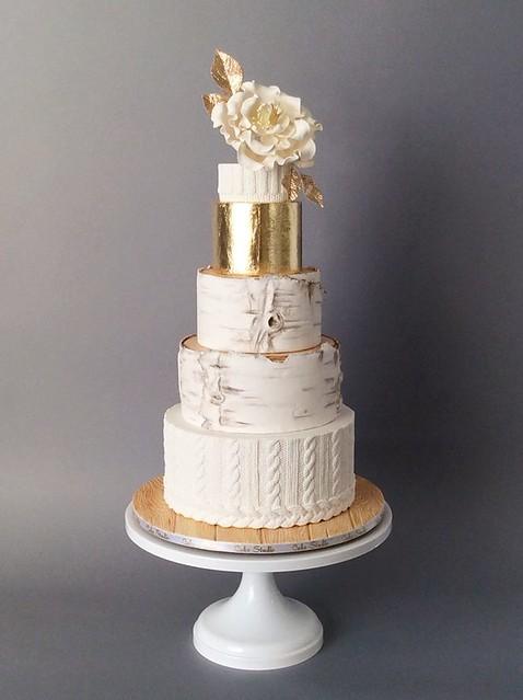 Cozy Knit and Birch Wedding cake by Cake Studio