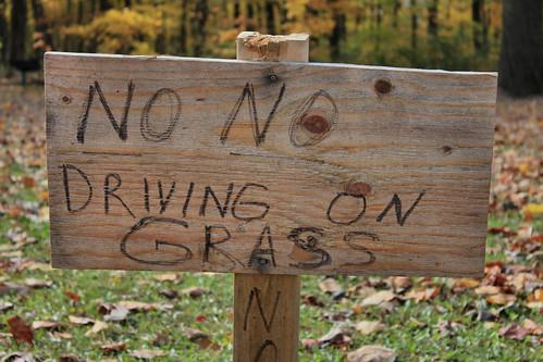 No No Driving on Grass
