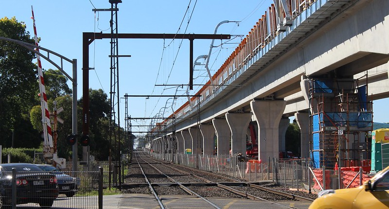 Noble Park skyrail under construction: Heatherton Road looking towards City