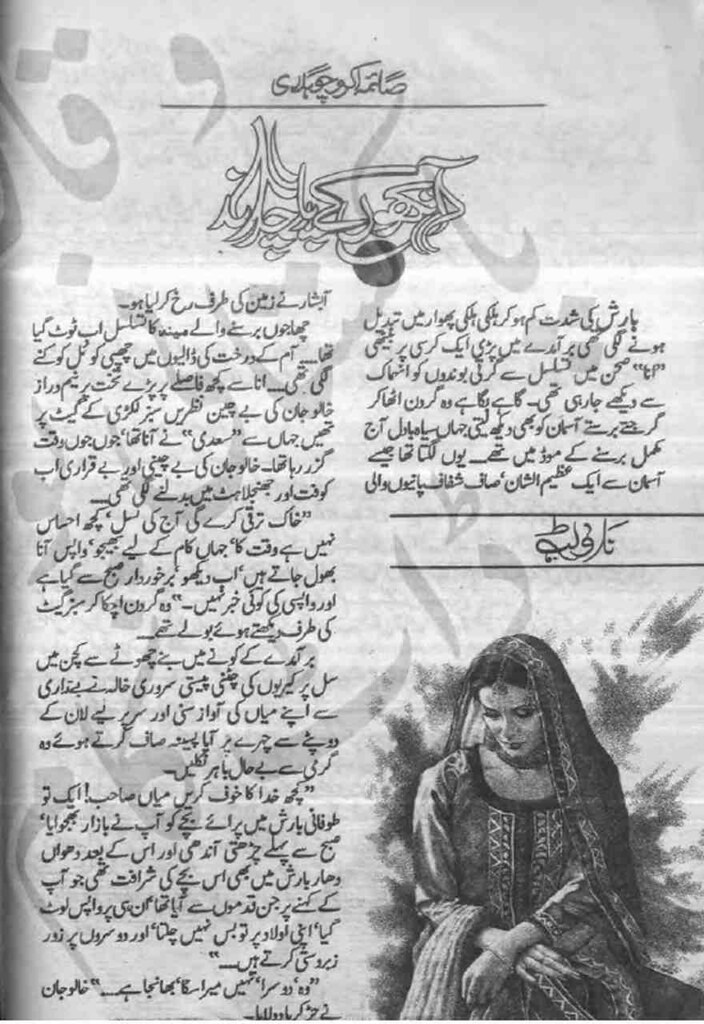 Aankhon ke Paar Chand is a very well written complex script novel by Saima Akram Chaudhary which depicts normal emotions and behaviour of human like love hate greed power and fear , Saima Akram Chaudhary is a very famous and popular specialy among female readers