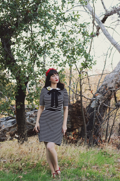 Joanie Clothing Fritha Breton Stripe Collar Dress
