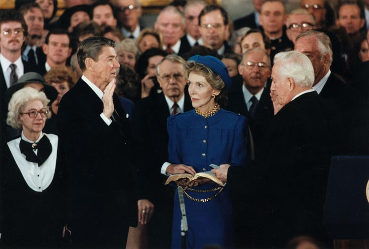 President Ronald Reagan being sworn in for second term in the rotunda at the U.S. Capitol on January 21, 1981.