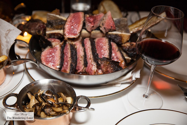 Domaine La Boutinière Châteauneuf-du-Pape 2013 with Côte de Boeuf por deux (40 oz. Tomahawk rib eye, roasted bone marrow) and side of sauteed mushrooms