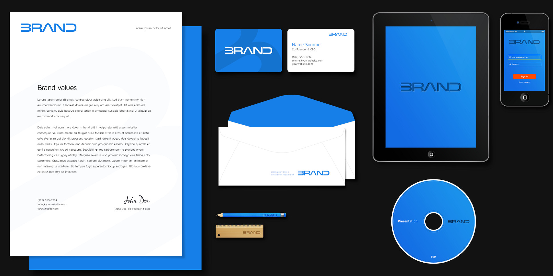 Corporate identity of brand in .PSD format