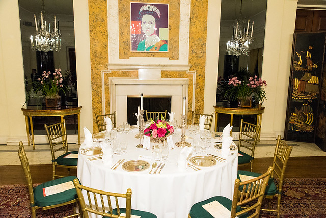 Table Setting with The Queen - 2017 Tribute Dinner at the British Ambassador's Residence