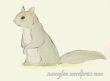 grey squirrel look-out sketch