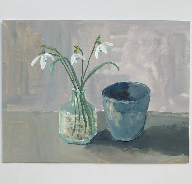 Snowdrops in an old ink bottle with handmade pinch bowl (21cm x 16cm)