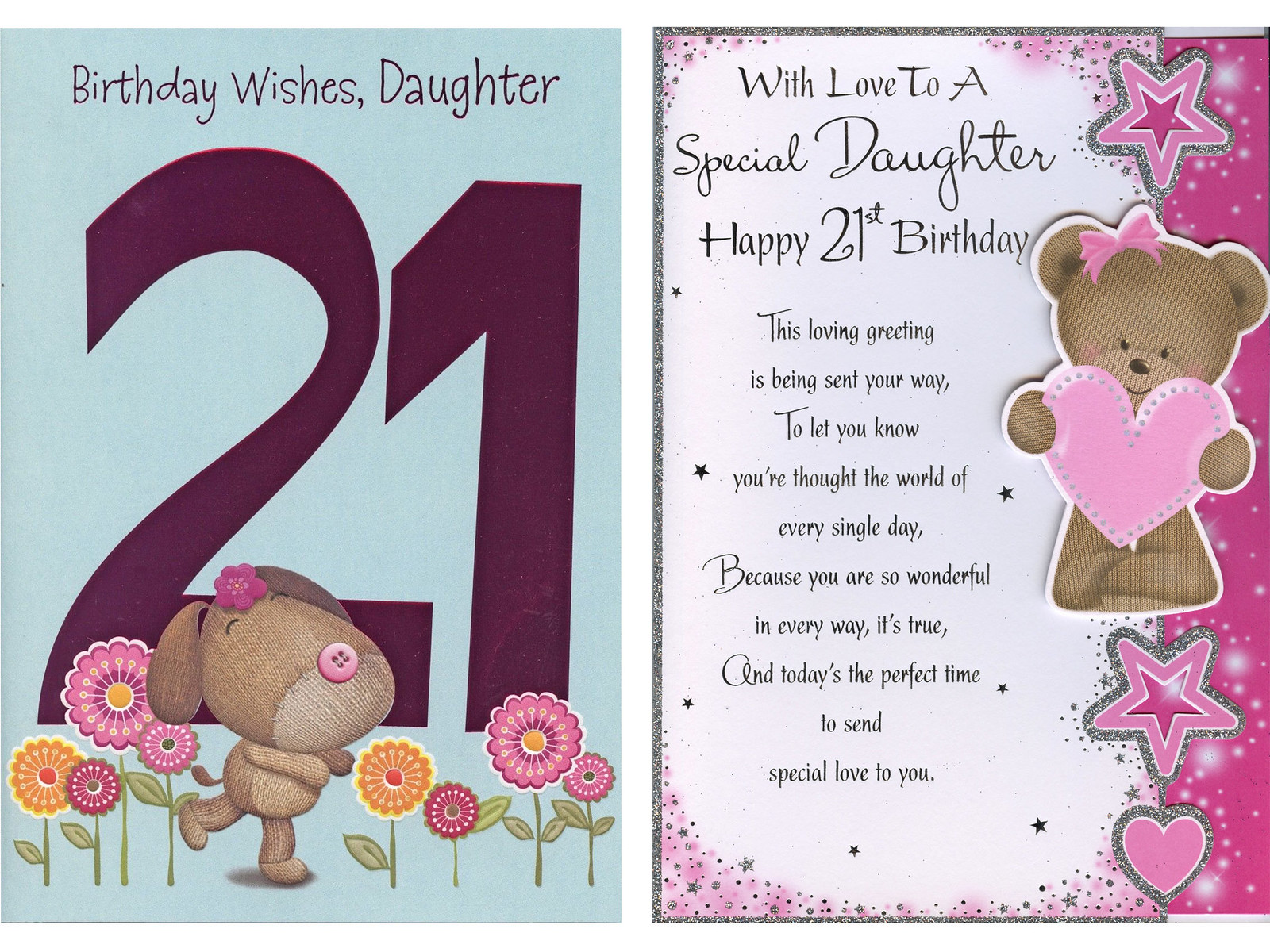 Details About LARGE BIRTHDAY WISHES DAUGHTER ON YOUR 21ST CARD 1ST PP