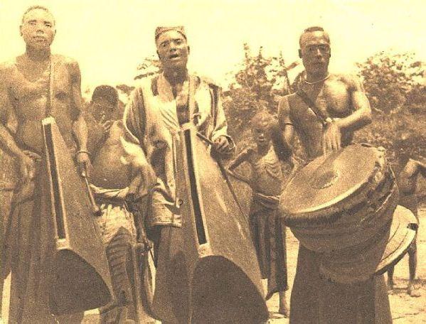 Batetelas drummers in Belgian Congo