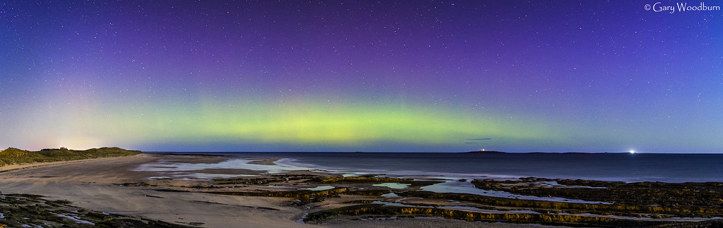 Moonlit Shore - Aurora Borealis, Seahouses