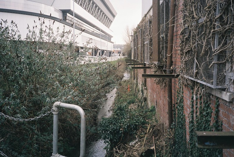 Colliter's Brook running alongside Ashton Gate stadium