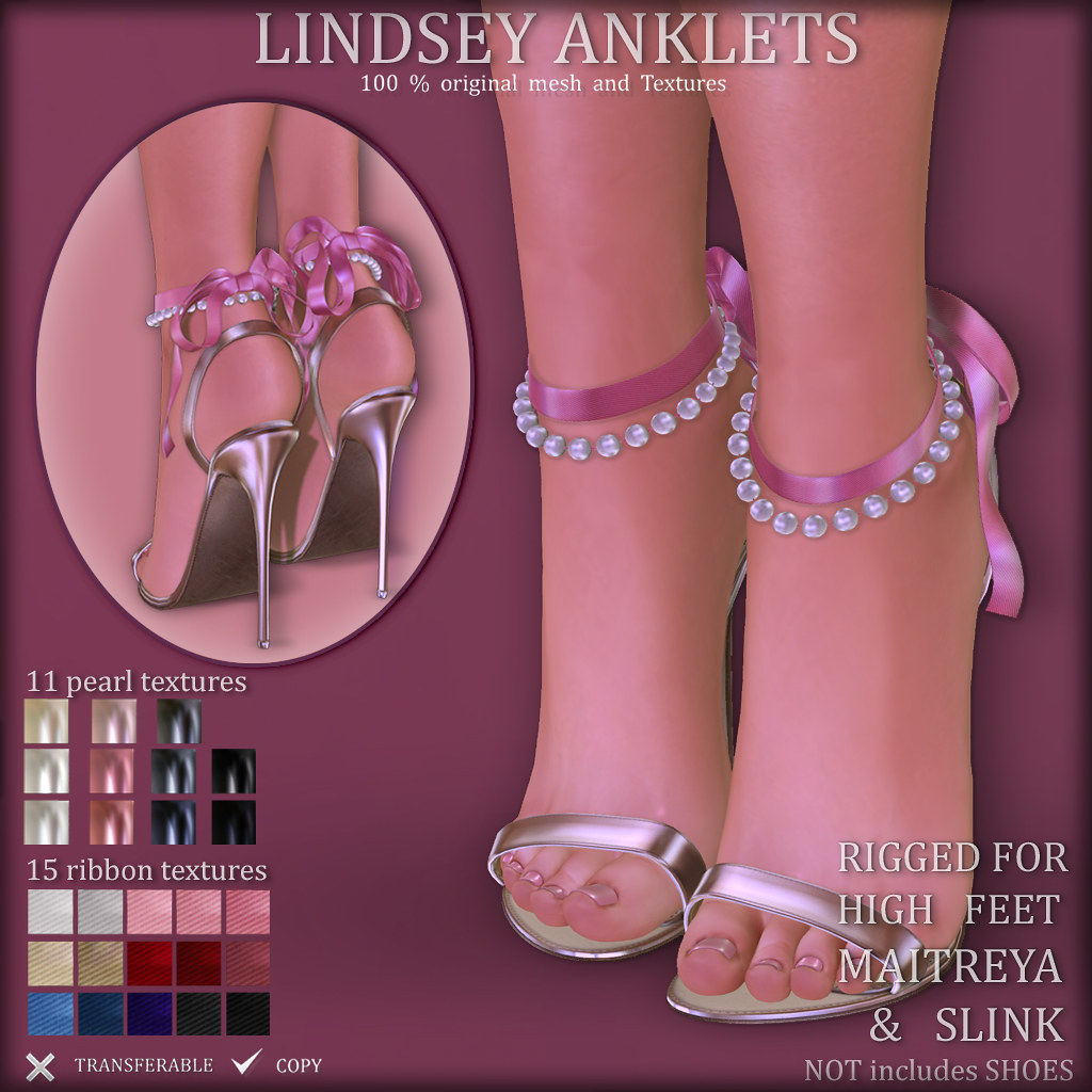 LINDSEY Anklets (RIGGED for HIGH SLINK & MAITREYA)