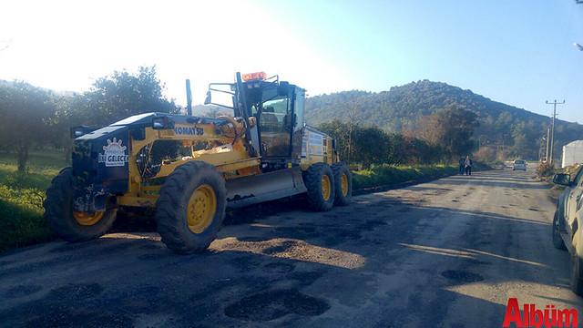 Antalya Büyükşehir Belediyesi Alanya Kırsal alan ekipleri yol çalışması