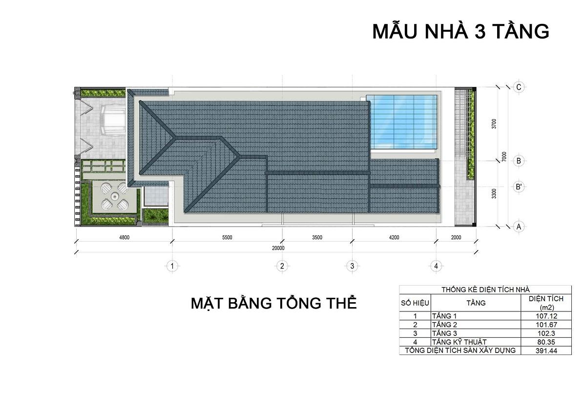 Mặt bằng tầng mái biệt thự 3 tầng thuộc các lô LK1, LK2, LK6 biệt thự Hưng Phát Green Star q7.