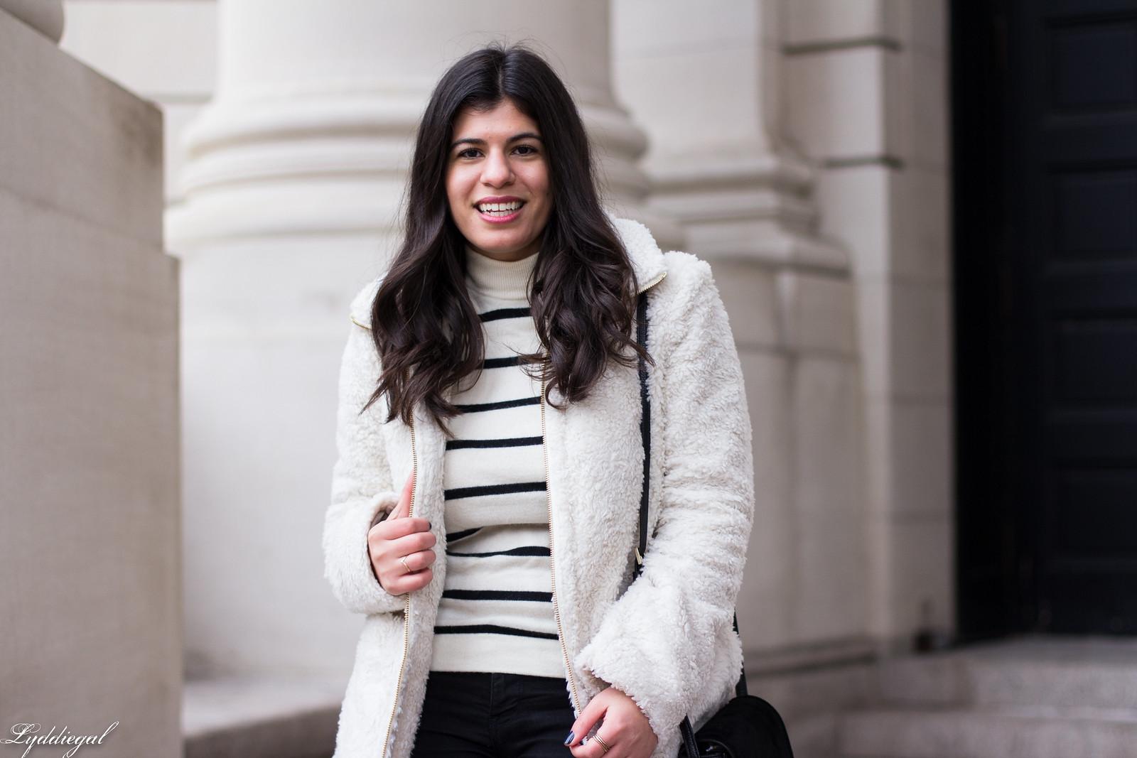loft teddy bear coat, striped sweater, black jeans, red ferragamo flats-14.jpg