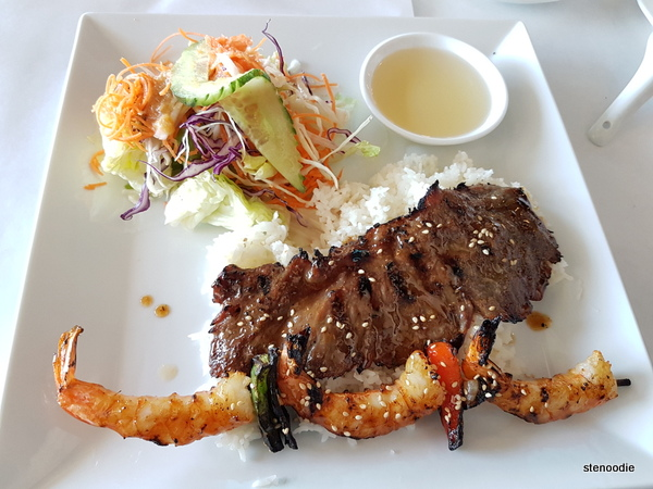 Grilled Beef and shrimps lunch special