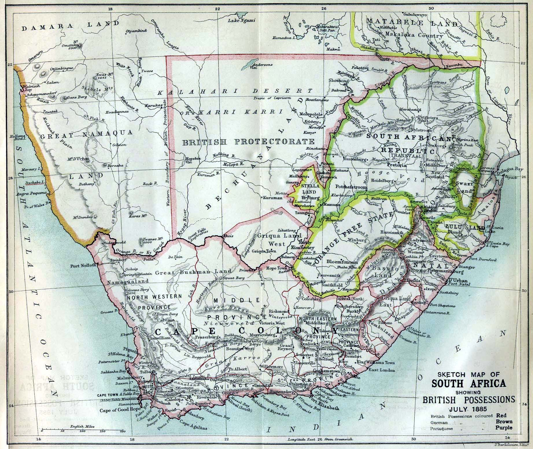 Map of southern Africa, including Cape Colony, published in 1885.
