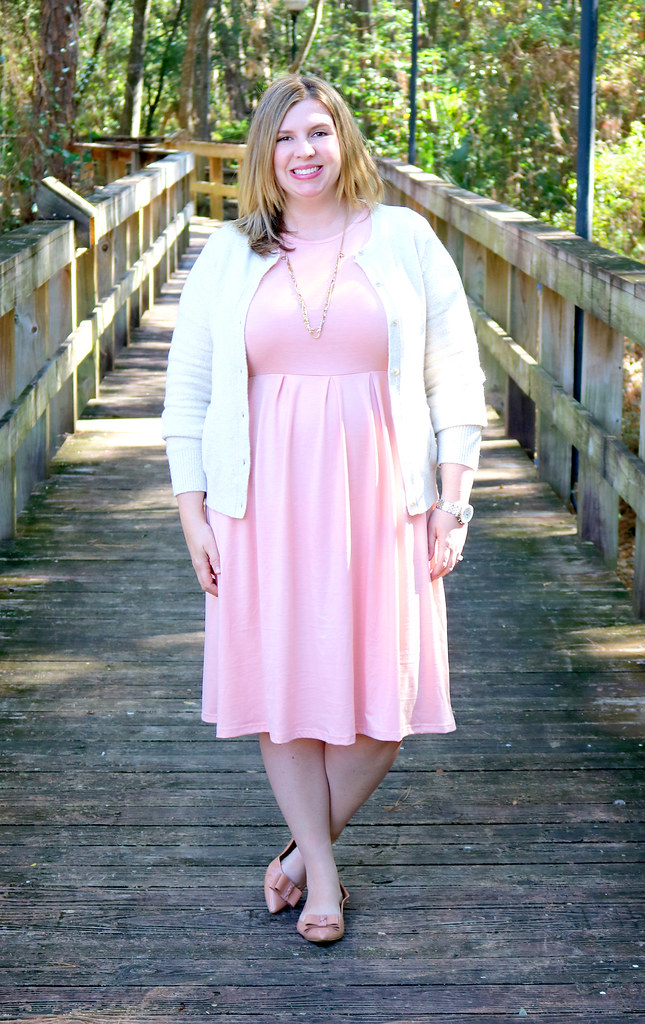 blush dress, cream cardigan, bow flats 5