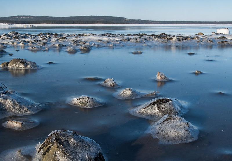 February. White sea litoral in low tide