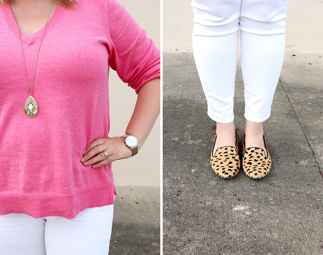 pink sweater, white jeans and leopard loafers 7