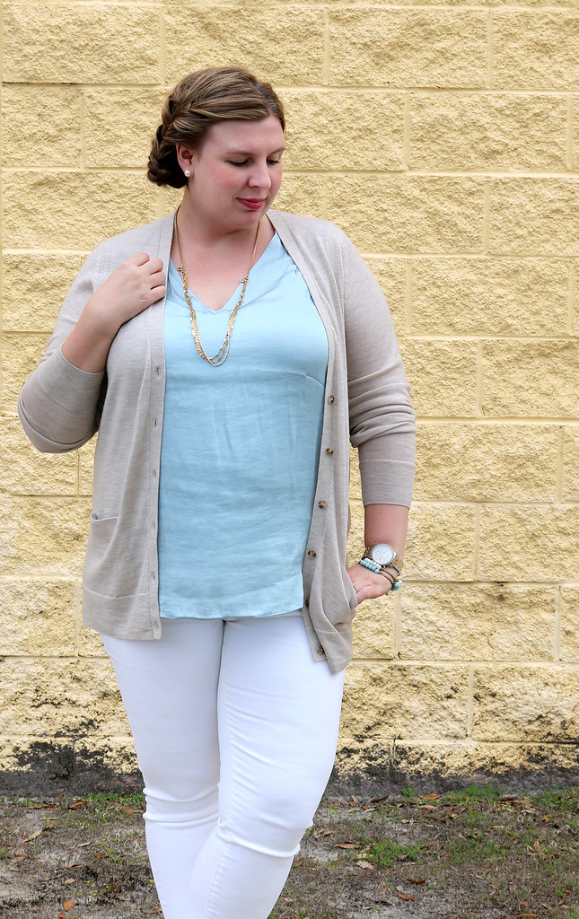 white jeans, tan cardi, aqua shell, cognac booties 4