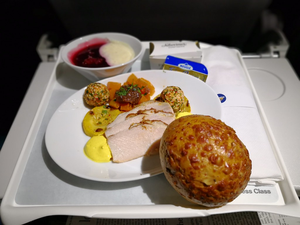 Inflight meal with bread