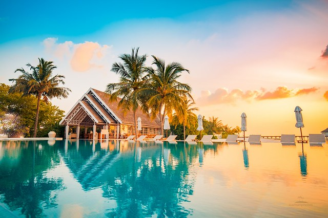Tropical beach reflection
