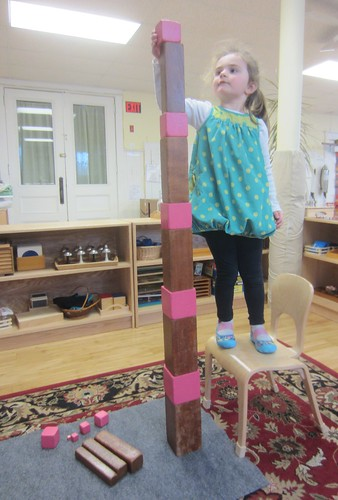 a tall brown and pink tower