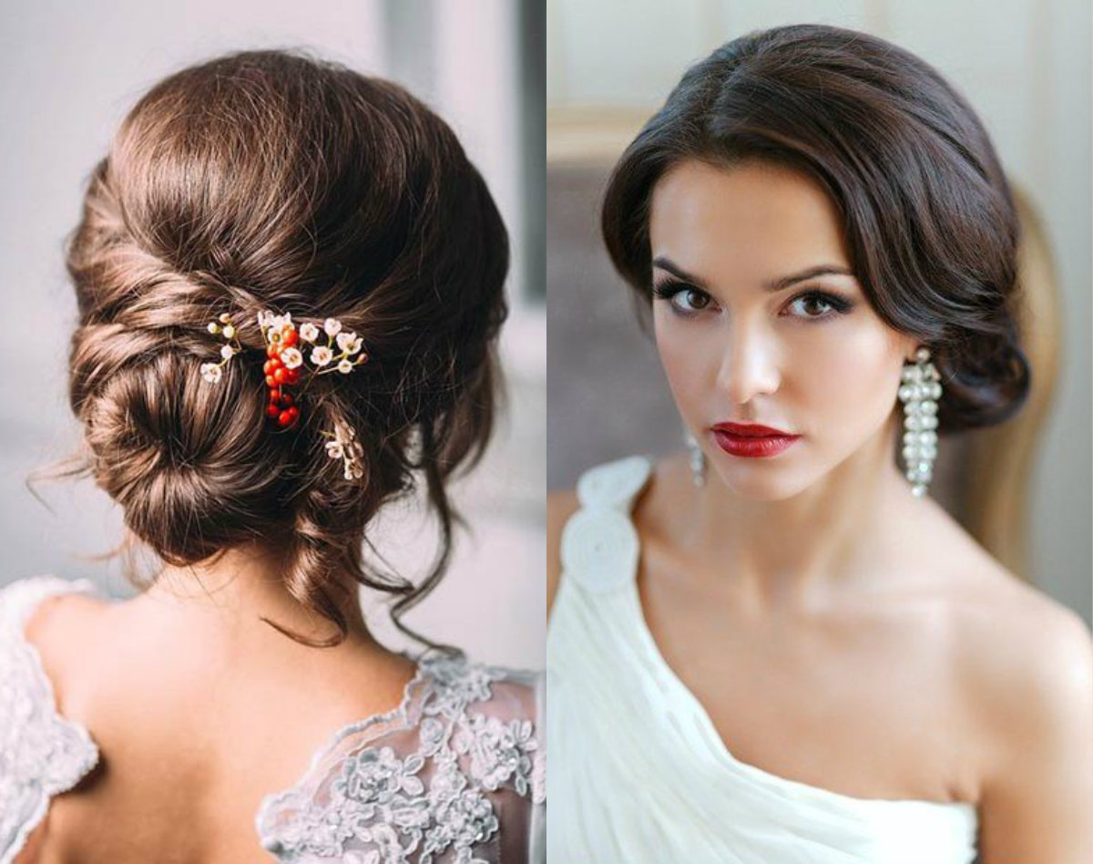 romantic low bun wedding hairstyles 2018
