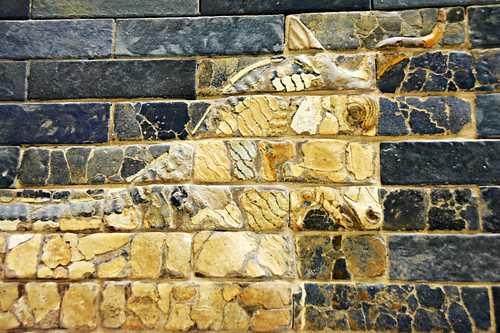 Detail of the figure of a bull from the Ishtar Gate to ancient Babylon
