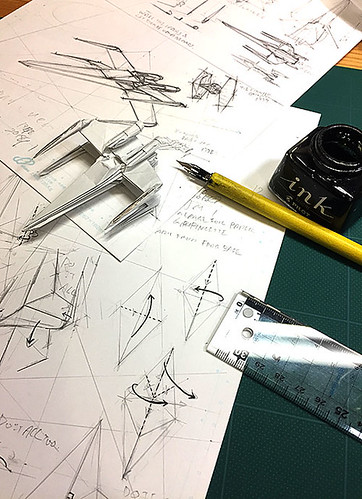 I just started inking the diagram of X-Wing Fighter origami High grade version