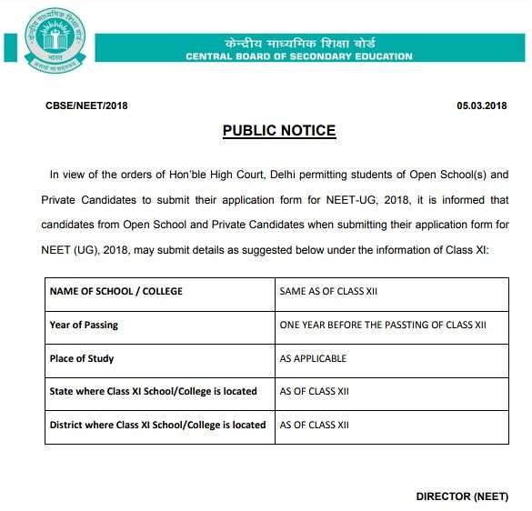NEET 2018 - Open School Students are eligible to apply