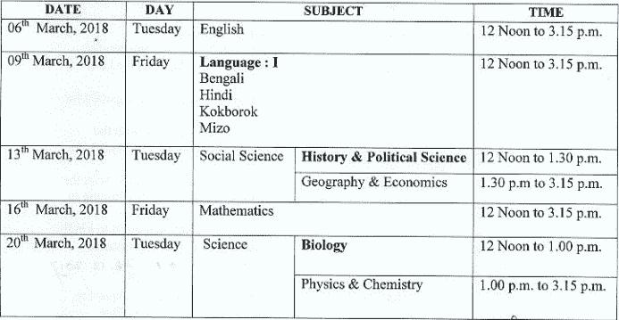 Tripura Board Class 10 Date sheet