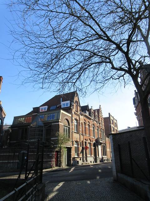 Afternoon sun and shadow, houses on Karel van Lotharingenstraat, Leuven, Belgium