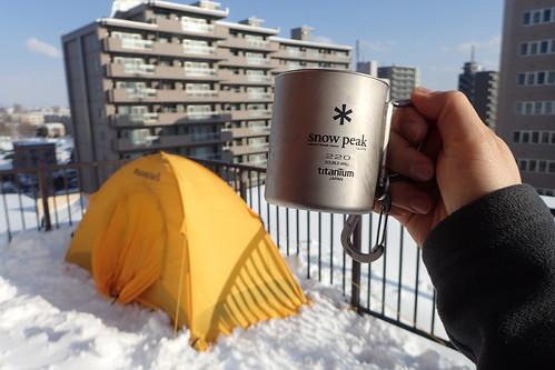 自宅で冬キャンプ