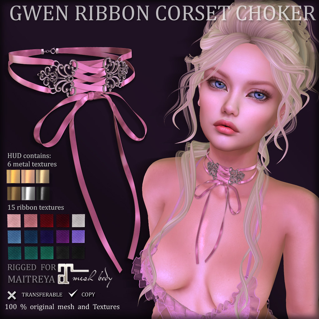 GWEN Ribbon Corset CHOKER (at BLUSH)