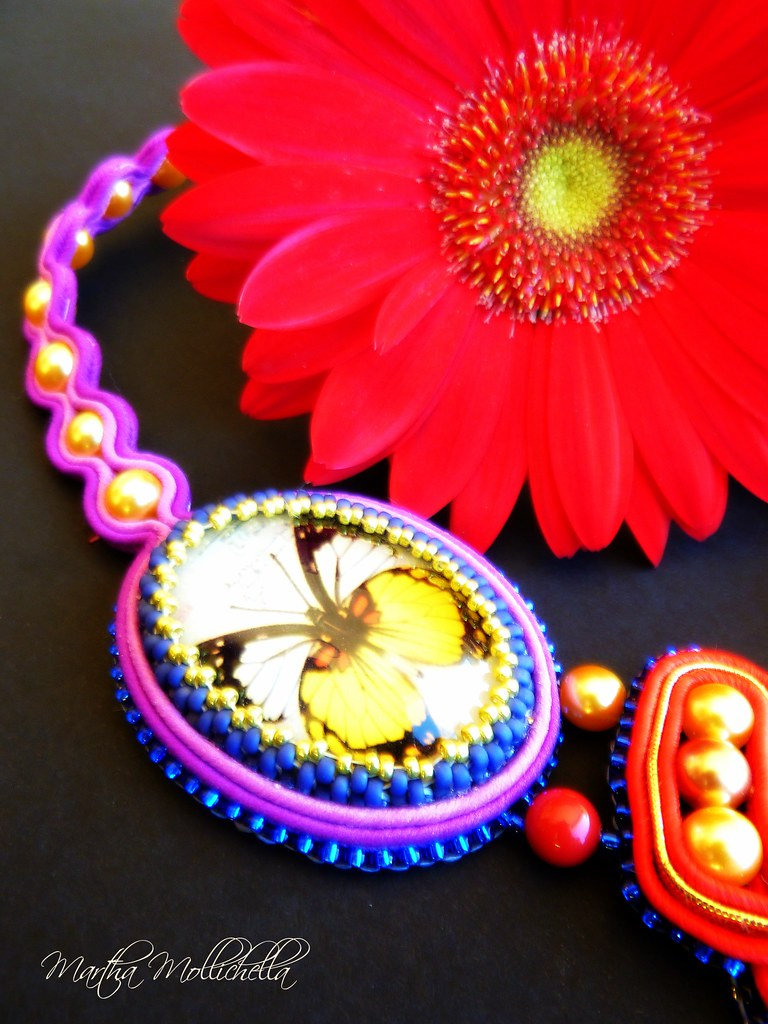 butterfly soutache necklace by Martha Mollichella
