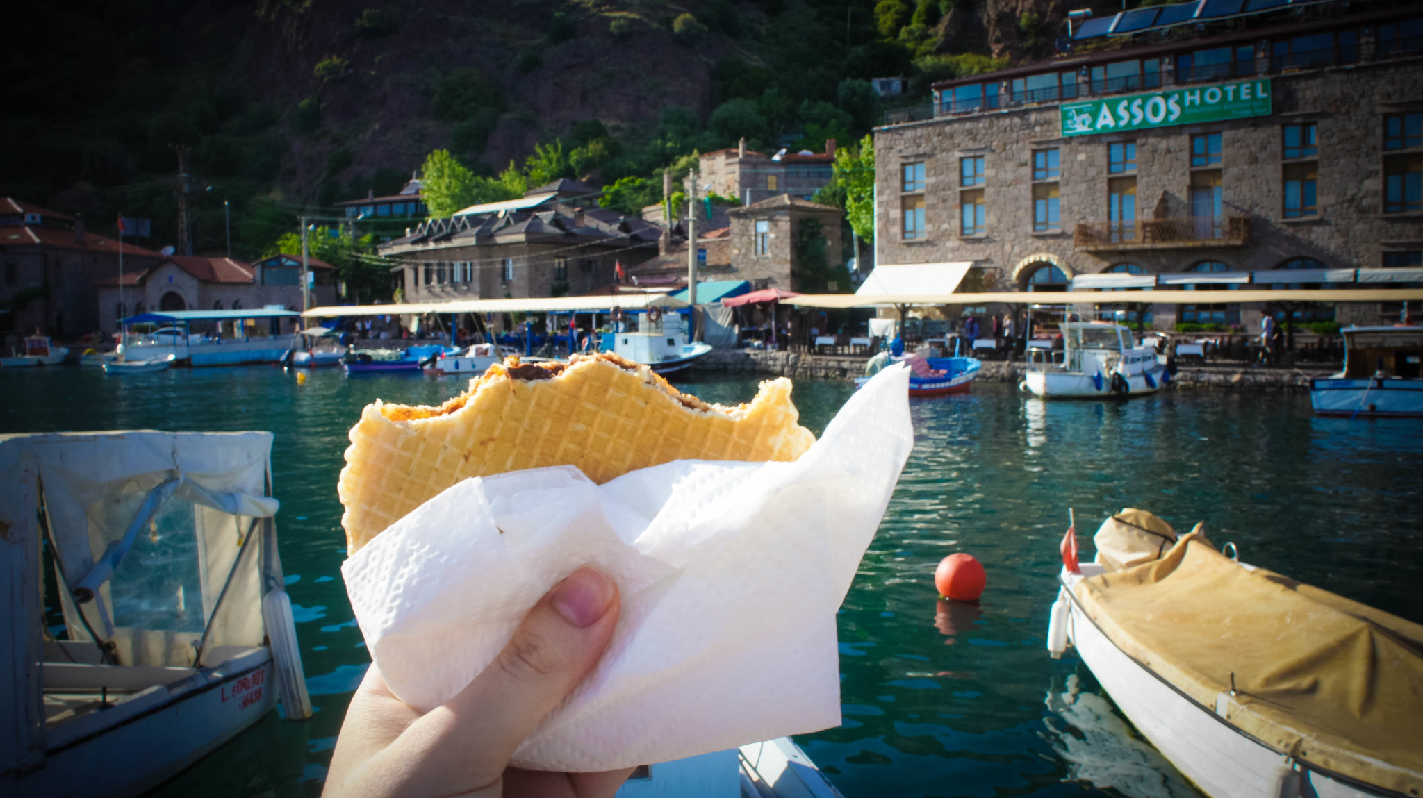 Waffles in Behramkale harbour!