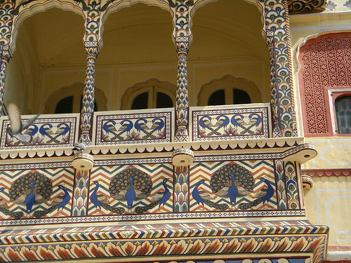 Decorative painted balcony at Hara Mahal, the Palace of the Winds in Jaipur, India