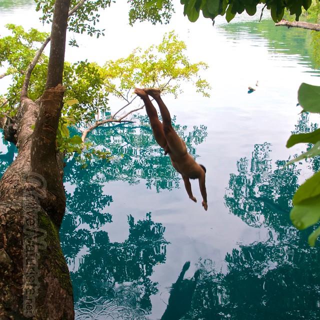 naturist diving 0000 Cenote Azul, Chetumal, Quintana-Roo, Mexico