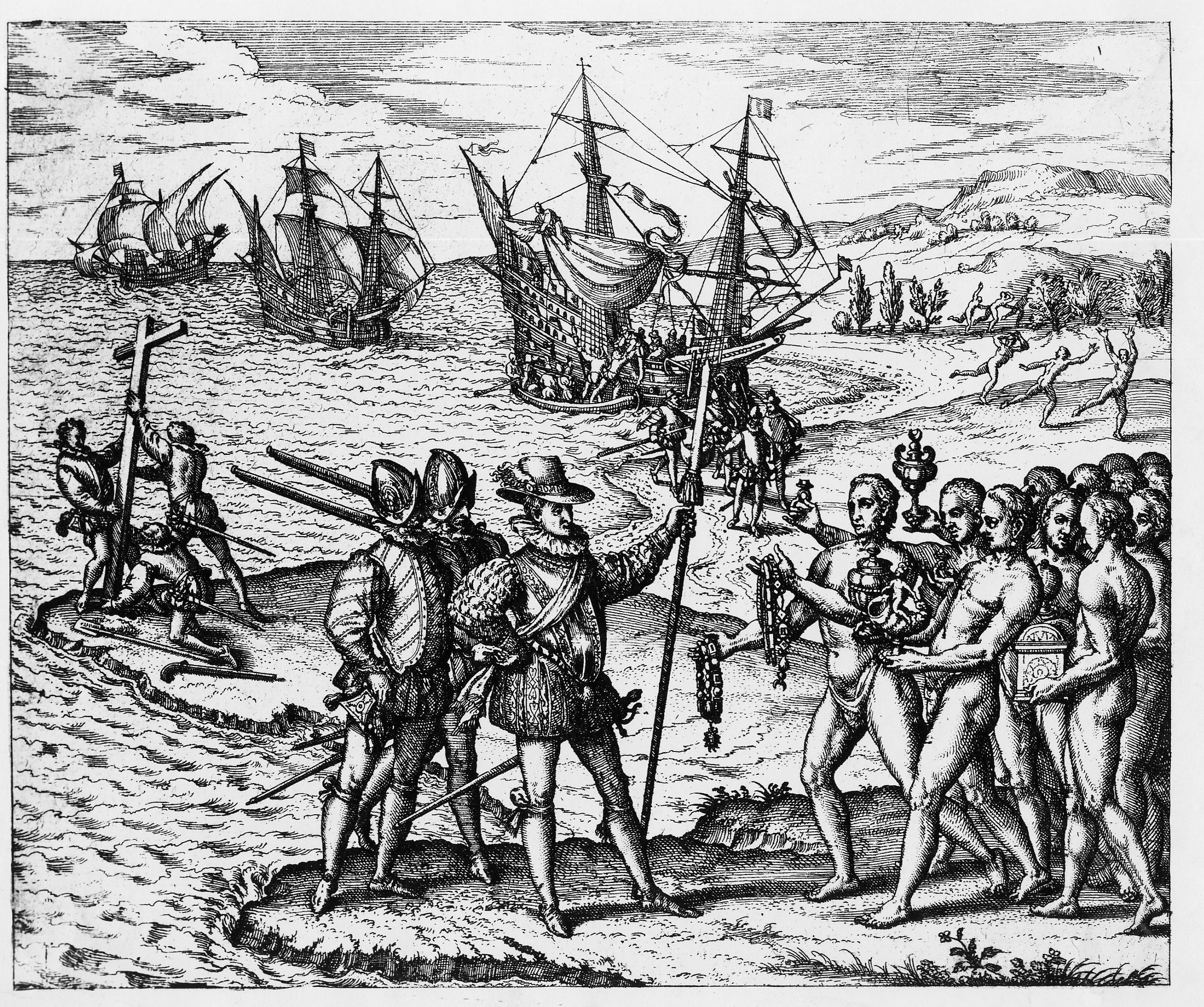Columbus landing on Hispaniola, December 6, 1492, greeted by Arawak Indians offering Columbus's men piles of gold in exchange for their shoelaces. Illustration from Theodor de Bry, 1594.
