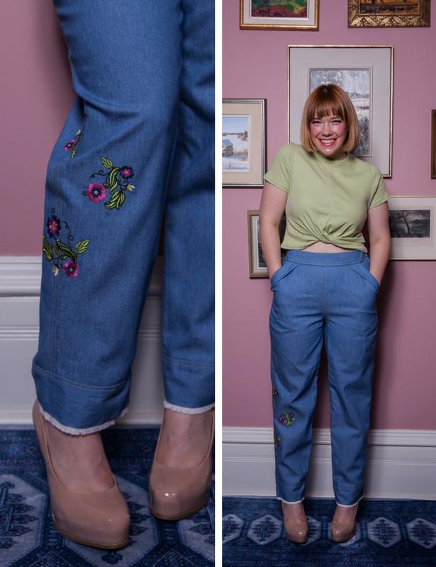 Meg Embroidered Denim Jeans