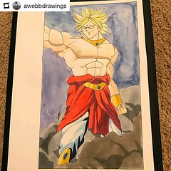 #Repost @awebbdrawings • • • Broly done with copicmarker on strathmoreart paper and with watercolor @otakufuel #broly #dragonball #dragonballz #dragonballsuper #anime #manga #drawing #copic #copicmarkers #copicsketch #sketch #villian #goku #vegeta #animea