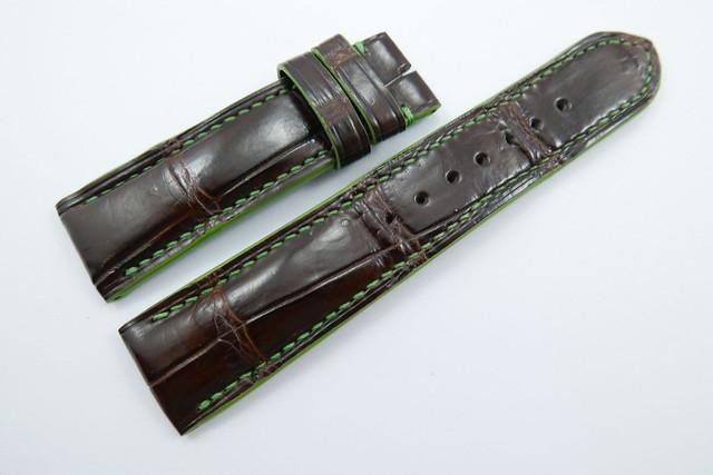 42b2cc0937d 22mm Dark Brown Genuine Crocodile Skin Leather Watch Strap Band ...