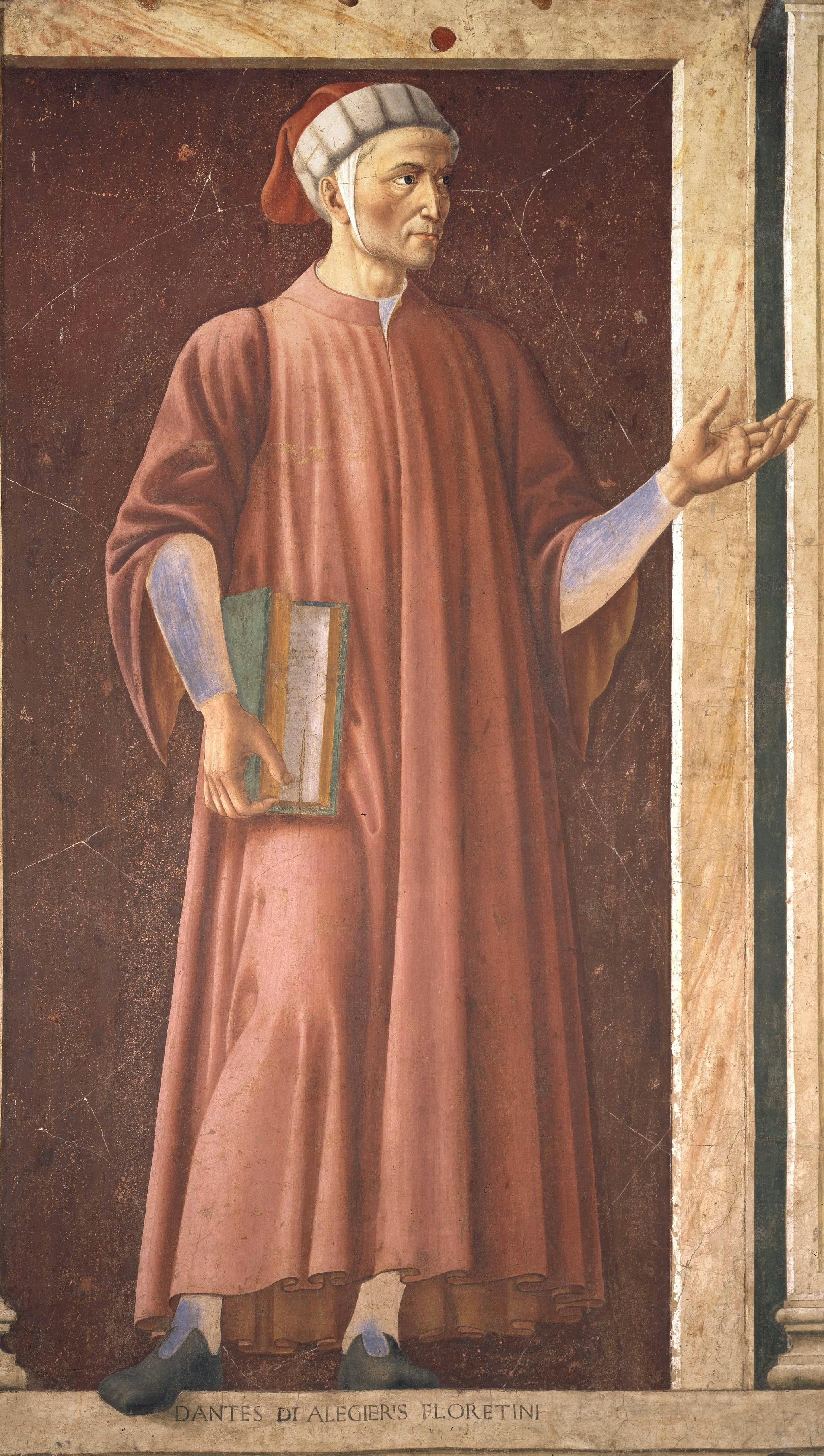Mural of Dante Alighieri in the Uffizi Gallery, by Andrea del Castagno, c. 1450.