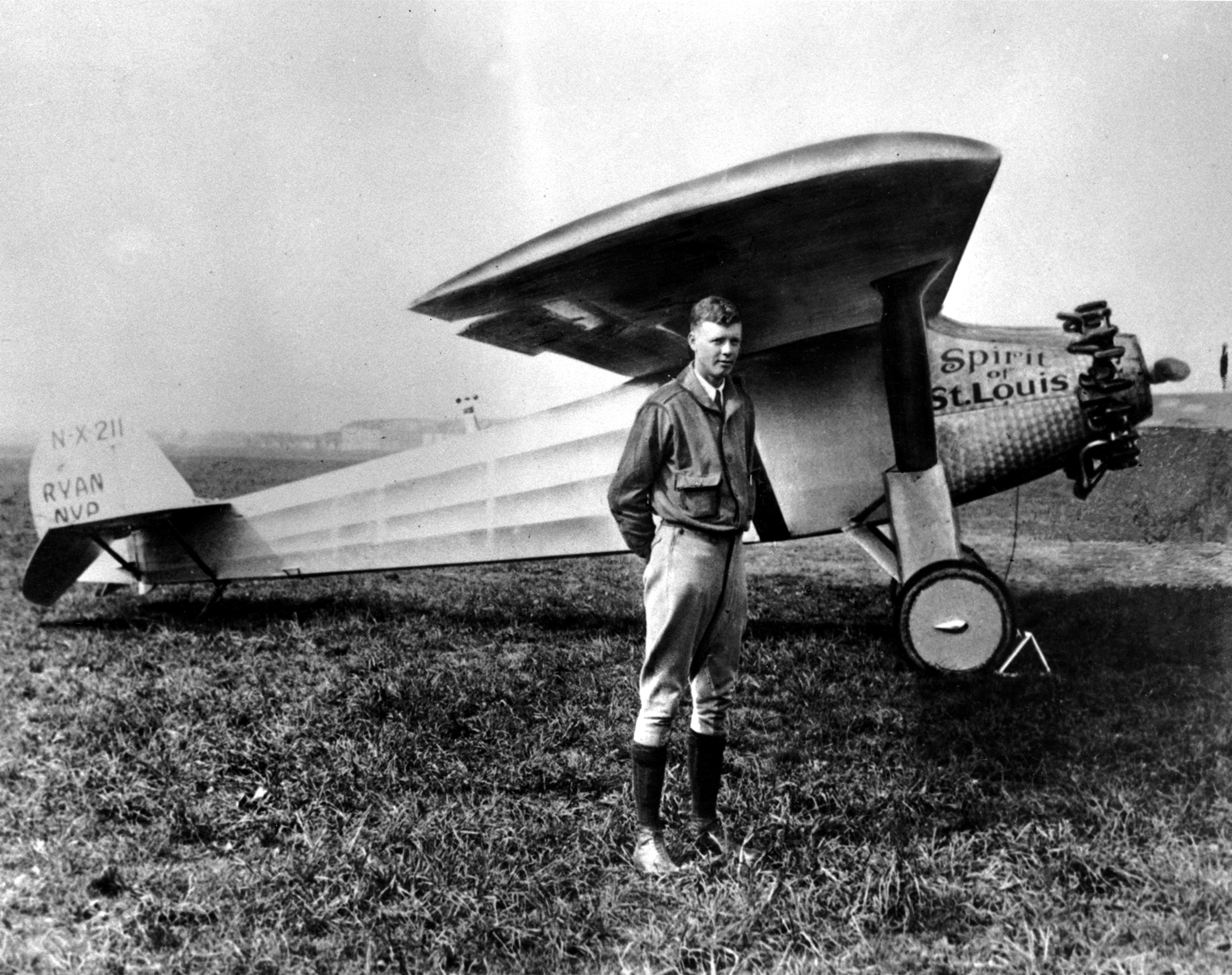 Charles Lindbergh and the Spirit of St. Louis, May 1927.