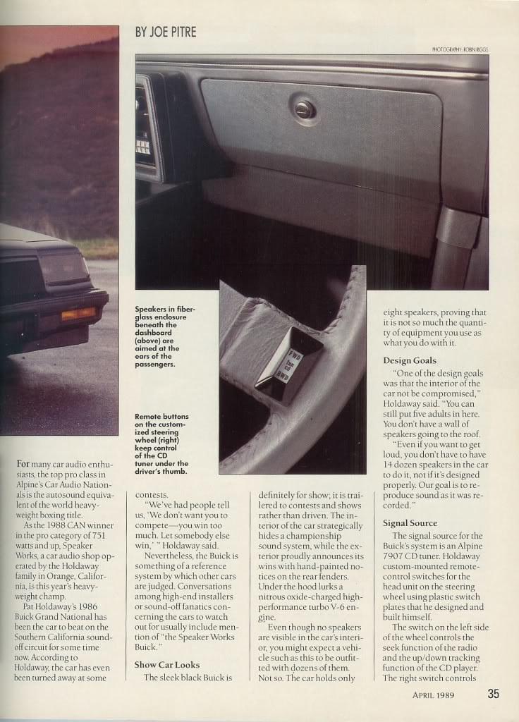 2017 Buick Grand National >> SpeakerWorks - 1986 Buick Grand National - 1989 CA&E