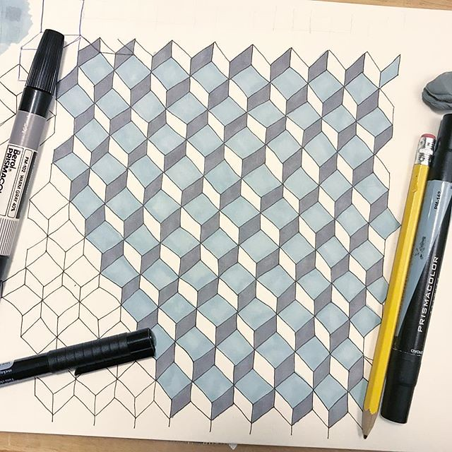 "Day 16 #patternjanuary - ""Circle or Cube?"" Another one that came to me as I fell asleep the night before. All I could think of was Qbert. Only, the original vision had the line work done with a blue ball point pen, shading in watercolor, and all of it wou"